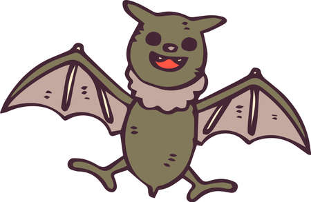 This is an illustration of a hand-painted Halloween bats. Illustration