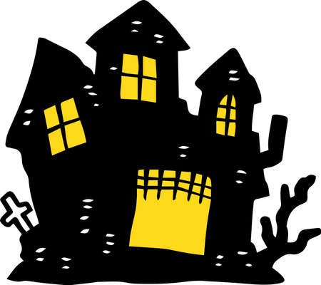 This is an illustration of a hand-painted Halloween castle. 版權商用圖片 - 116219088