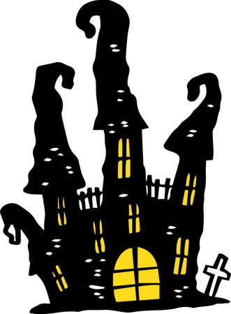 This is an illustration of a hand-painted Halloween castle.