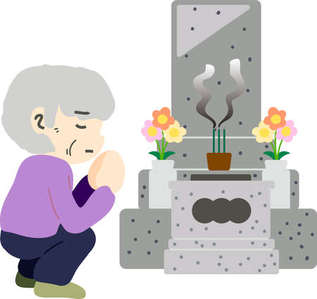 This is an illustration of a Japanese visit to a grave. Illustration