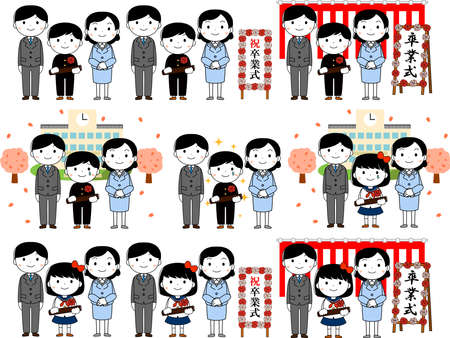 This is an illustration of agraduate student and parents at the Graduation ceremony. On the signboard is written a graduation ceremony.
