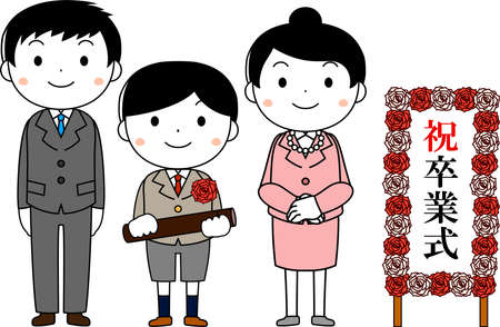 This is an illustration of agraduate student and parents at the Graduation ceremony. The sign says that the graduation ceremony. Illustration