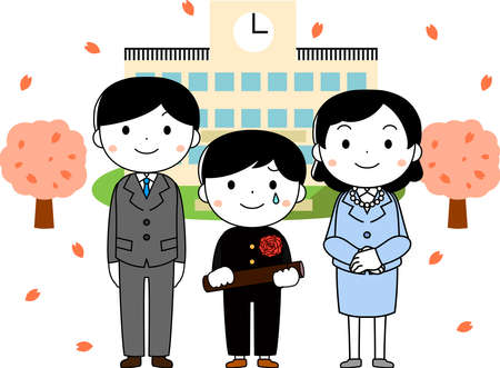 This is an illustration of agraduate student and parents at the Graduation ceremony. Ilustracje wektorowe