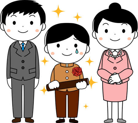 This is an illustration of agraduate student and parents at the Graduation ceremony.