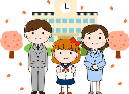 This is an illustration of a new student at the entrance ceremony.