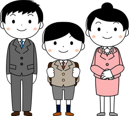 This is an illustration of a new student and parents at the entrance ceremony.