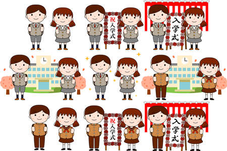 This is an illustration of a new student at the entrance ceremony.This is an illustration of a new employee at the entrance ceremony.The meaning of the word written on the signboard is the entrance ceremony. 向量圖像