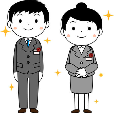 This is an illustration of a new employee in the entrance ceremony.