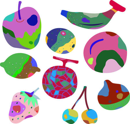 This is an illustration of rotten fruits. Ilustrace
