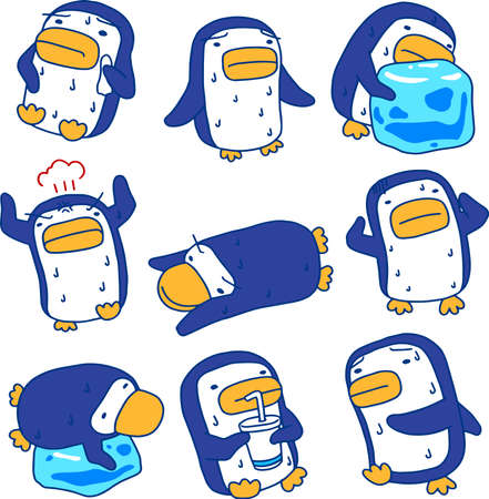 This is an illustration of a hot and sweaty penguin.