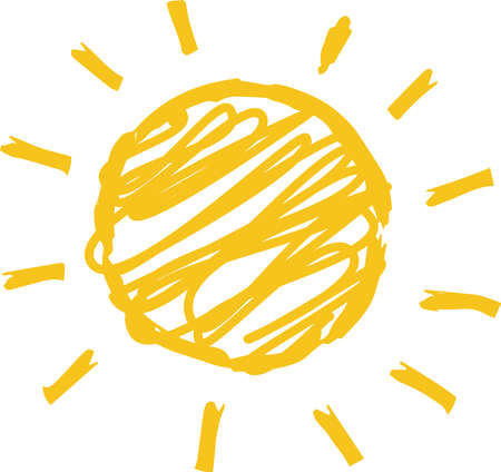 This is an illustration of a rough sketch of the sun.