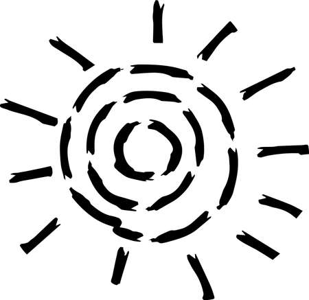 This is a hand-drawn cute sun icon illustration. Foto de archivo - 116791874