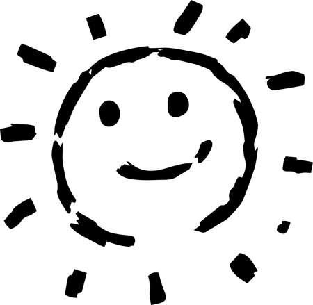 This is a hand-drawn cute sun icon illustration. Foto de archivo - 116337659
