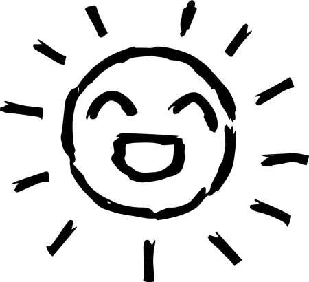 This is a hand-drawn cute sun icon illustration. Foto de archivo - 116791878