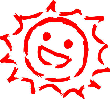 This is a hand-drawn cute sun icon illustration. Foto de archivo - 116791892