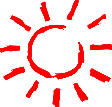 This is a hand-drawn cute sun icon illustration. Foto de archivo - 116791904