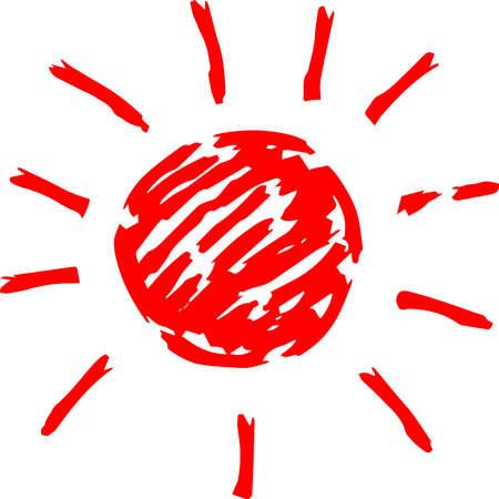 This is a hand-drawn cute sun icon illustration. Foto de archivo - 116791905