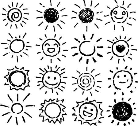 This is a hand-drawn cute sun icon illustration.