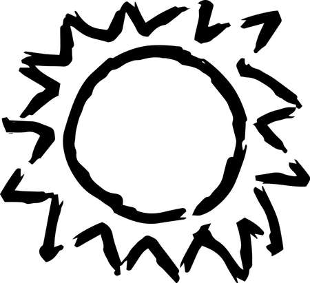 This is a hand-drawn cute sun icon illustration. Foto de archivo - 116337678