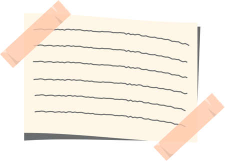 This is an illustration of memo writing pasted with tape.
