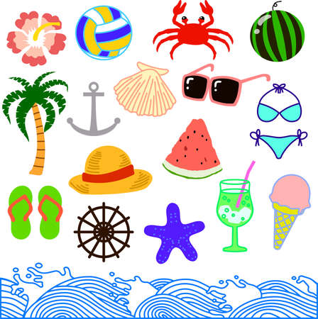 This is an illustration of the summer sea material.