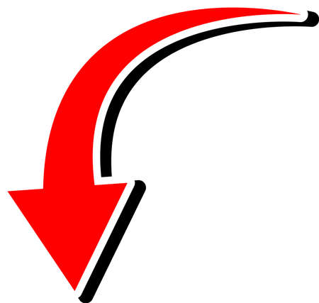 This is an illustration of a curved arrow. Ilustração