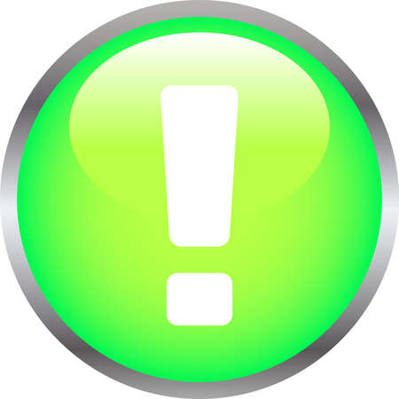 This is an illustration of Colorful Shiny round button with Exclamation.