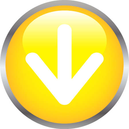 This is an illustration of Colorful Shiny round button with Down arrow. Vecteurs