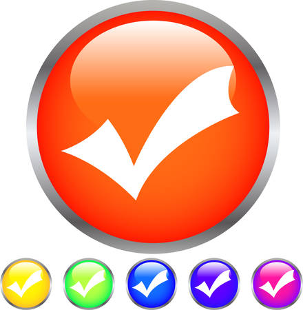 This is an illustration of Colorful Shiny round button with check Mark. Çizim