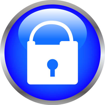 This is an illustration of Colorful Shiny round button with padlock mark.