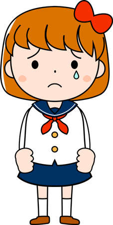 This is an illustration of emotional expressions of bob cut female students.