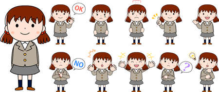 This is an illustration of emotional expressions of pig tails female students.