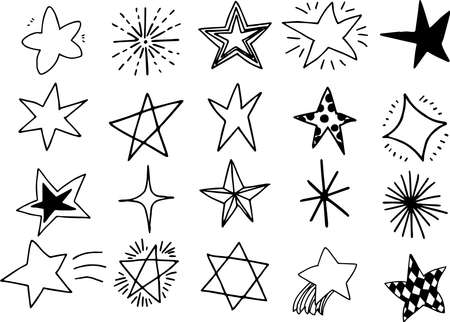 This is an illustration of hand-drawn sparkling star. Illustration