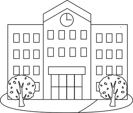 This is an illustration of a Japanese school. Ilustracja