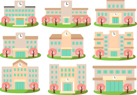 This is an illustration of a Japanese school. 向量圖像