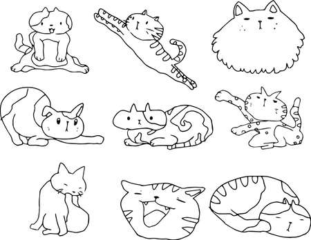 This is an illustration of a handwritten cute cat.