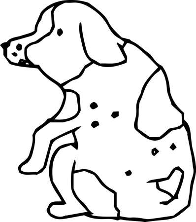 This is an illustration of a cute dog handwritten.  イラスト・ベクター素材