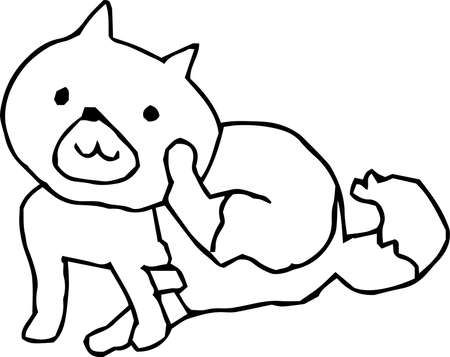 This is an illustration of a cute dog handwritten. Illustration