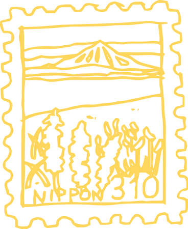 This is a rough sketch of Japanese stamps. Stock Illustratie