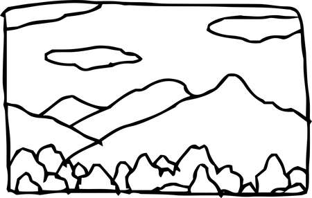 This is the landscape an illustration of the hills and fields of Japan  イラスト・ベクター素材