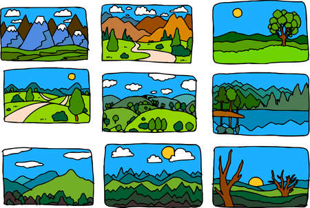 This is the landscape an illustration of the hills and fields of Japan Stock Illustratie
