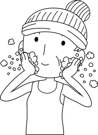 This is an illustration of a cute older lady who is washing the face.