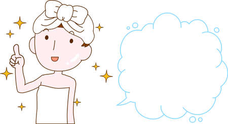 This is an illustration of a cute lady who is washing the face as after bathing with Bubble Callout.