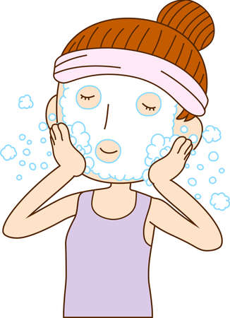 This is an illustration of Illustration of a lady who is washing the face. Ilustração