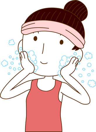 This is an illustration of Illustration of a lady who is washing the face. Stock Illustratie