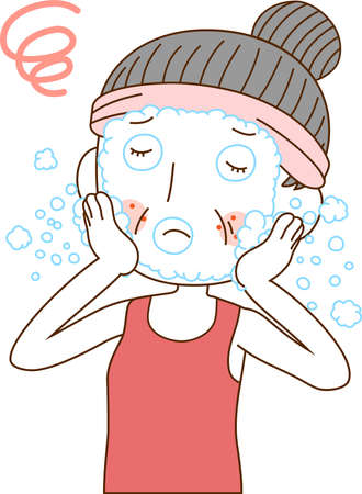 This is an illustration of a older woman with rough skin. Stock Illustratie