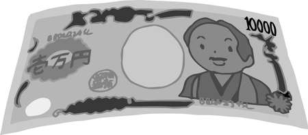 This is a rough sketch of a deformed Japanese 10000 yen bill.