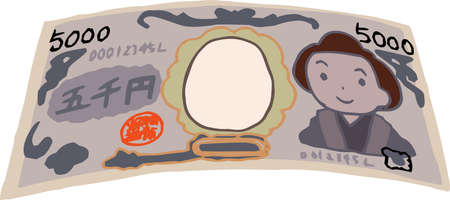 This is a rough sketch of a deformed Japanese 5000 yen bill.
