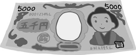 This is a rough sketch of a deformed Japanese 5000 yen bill. Çizim