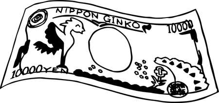 This is a rough sketch of a deformed Japanese 10000 yen bill back side.